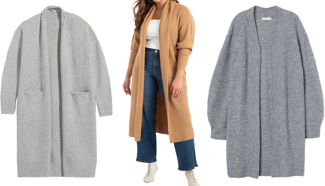 item 8 of Gallery image - Old Navy Long Duster Open-Front Cardigan Sweater for Women in Light Gray Heather; Eloquii Long Ribbed Cardigan in caramel; H&M Knit Cardigan in Gray Melange