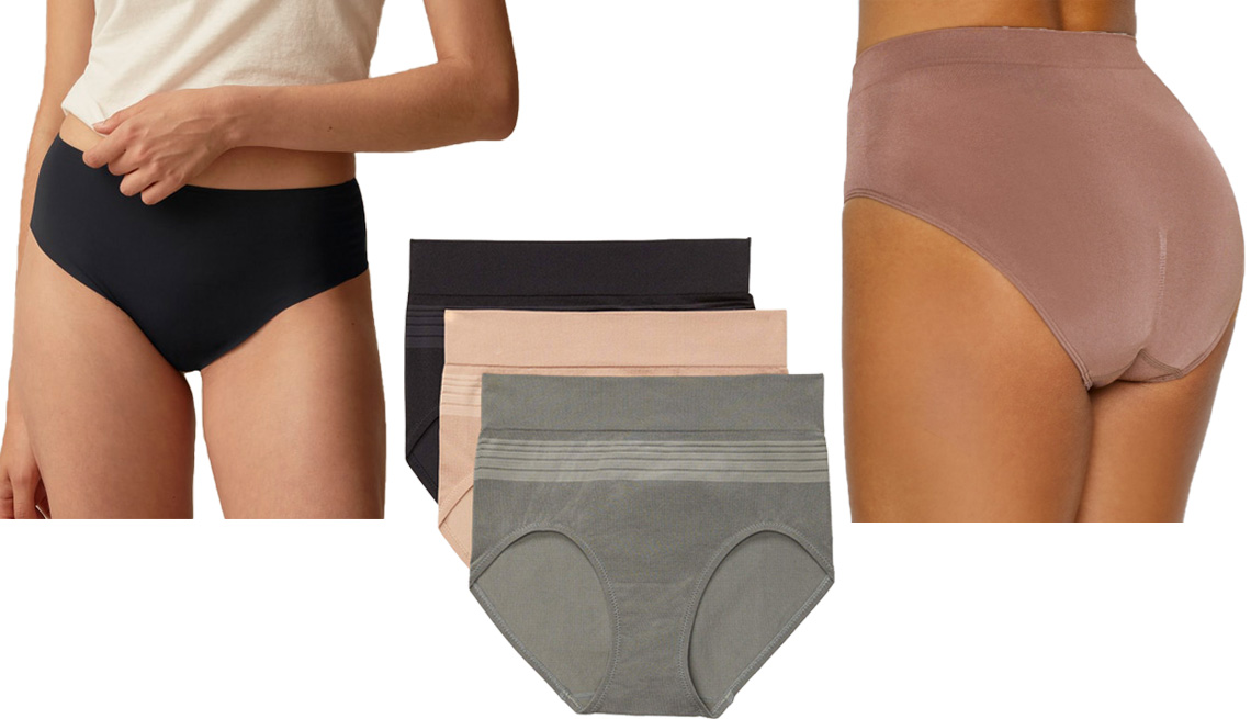 item 4 of Gallery image - (De izquierda a derecha) Everlane The Invisible High-Rise Hipster; Blissful Benefits by Warner's Women's No Muffin Top Seamless Brief 3-Pack; Wacoal B-Smooth Hi-Cut Brief estilo # 834175.