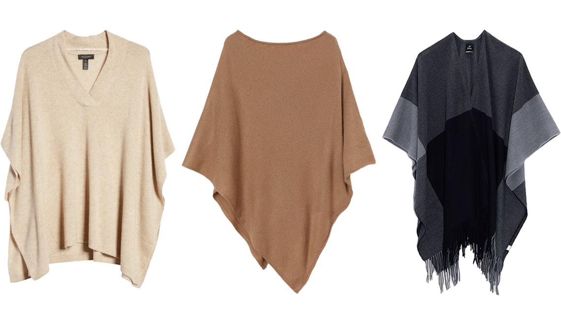 item 9 of Gallery image - Poncho V-Neck Cashmere de Halogen en beige claro, Knit Poncho de H&M en beige; Colorblock Fringe Hem Ruana de Echo en negro.