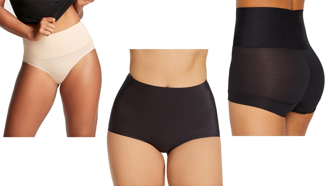 item 6 of Gallery image - (De izquierda a derecha) Yummie Ultralight Seamless Shaping Brief en color frappe; Bali EasyLite Shaping Brief Panty 2-Pack DFS059 en color negro; Maidenform Tame Your Tummy Boyshorts en color negro.