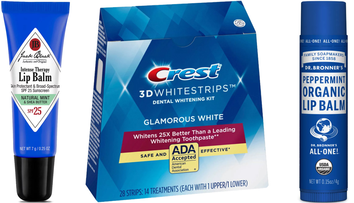 item 7 of Gallery image - Jack Black Intense Therapy Lip Balm SPF 25; Crest 3D Whitestrips Glamorous White Teethe Whitening Strips; Dr. Bronner's Organic Lip Balm Peppermint