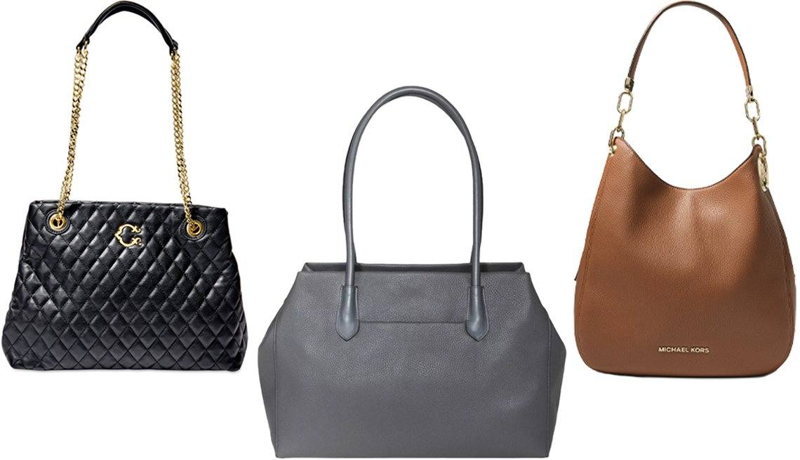 item 1 of Gallery image - C. Wonder Kimberly Quilted Tote in black; A New Day Soft Tote Handbag in gray; MICHAEL Michael Kors Lillie Large Chain Shoulder Tote in Luggage