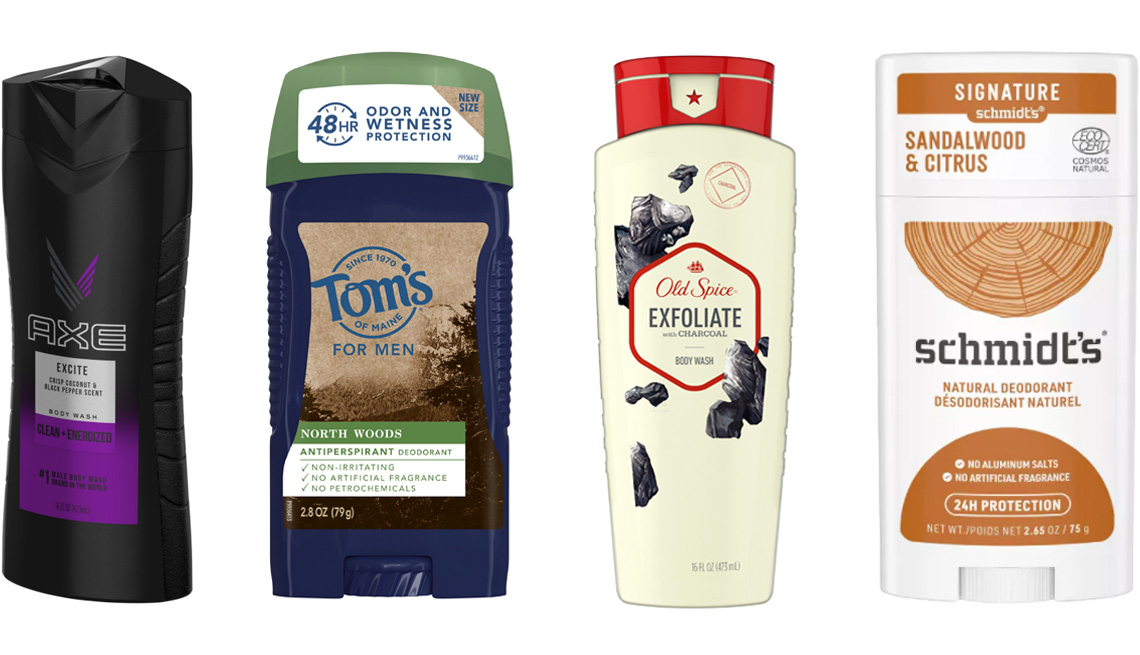 item 5 of Gallery image - Axe Body Wash for Men Excite; Tom's of Maine Men's North Woods Antiperspirant Deodorant; Old Spice Body Wash for Men Inspired by Nature in Deep Sea Minerals; Schmidt's Sandalwood & Citrus Aluminum Free Natural Deodorant Stick