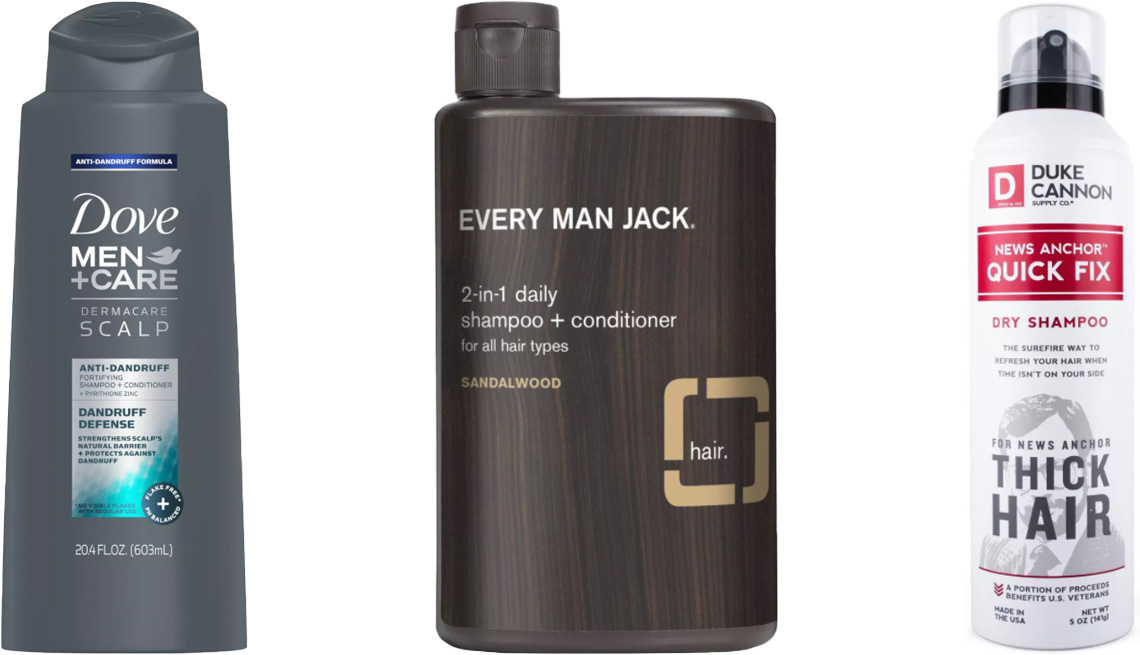 item 11 of Gallery image - Dove Men+Care Dandruff Defense 2-in-1 Anti-Dandruff Shampoo and Conditioner; Every Man Jack 2-in-1 Daily Shampoo and Conditioner in Sandalwood; Duke Cannon Supply Company News Anchor Quick Fix Dry Shampoo