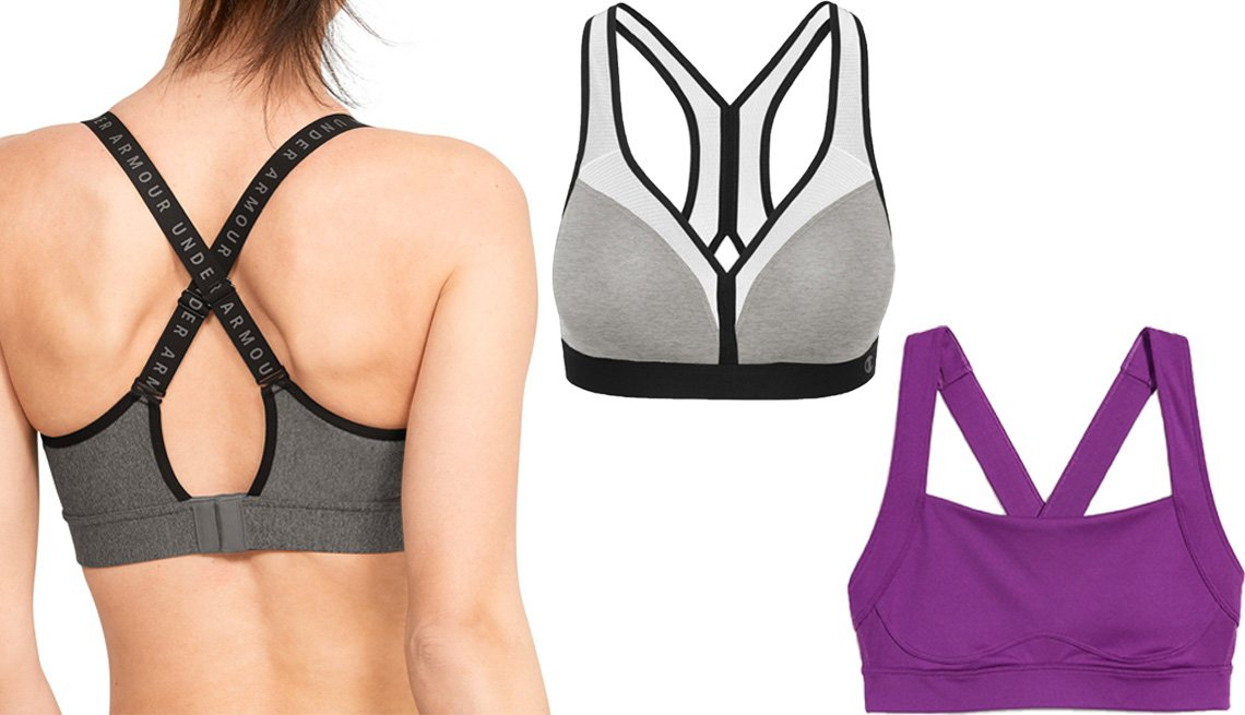 item 3 of Gallery image - Under Armour Women's HeatGear U-Back Mid-Impact Sports Bra; Champion The Curvy Moderate Support Wireless Sports Bra B9373; Old Navy High Support Cross-Back Sports Bra for Women