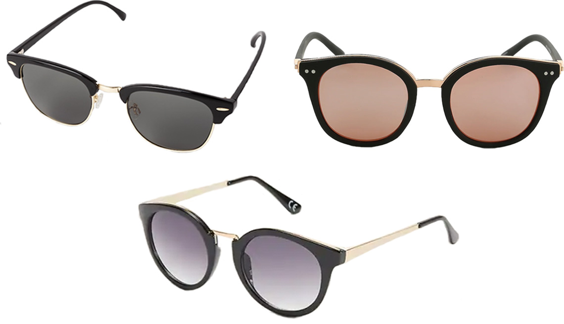 item 6 of Gallery image - Uniqlo Brow Line Sunglasses in 09 Black; Kelly & Katie Vista Sunglasses; Old Navy Round Cat-Eye Metal-Tip Sunglasses for Women in Black Jack
