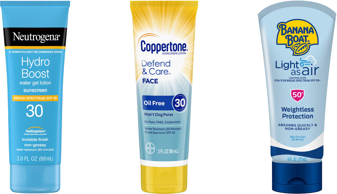 item 4 of Gallery image - Neutrogena Hydro Boost Moisturizing Sunscreen Lotion SPF 30; Coppertone Defend & Care Sunscreen Oil-Free Face SPF 30; Banana Boat Light As Air Sunscreen Lotion SPF 50