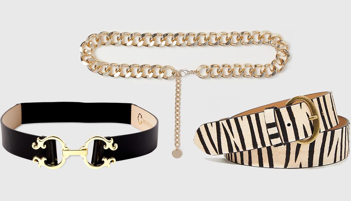 item 4 of Gallery image - (Desde abajo a la izquierda, en el sentido de las agujas de reloj) Double C Elastic Waist Belt de C. Wonder; Chain Waist Belt de H&M en dorado; Horseshoe Buckle Belt de Loft en blanco y negro.