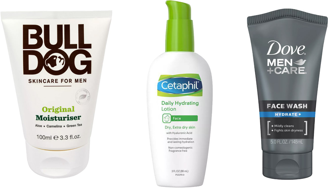 item 1 of Gallery image - Bulldog Skincare for Men Original Face Moisturizer; Cetaphil Daily Hydrating Lotion for Face; Dove Men+Care Hydrate+ Face Wash