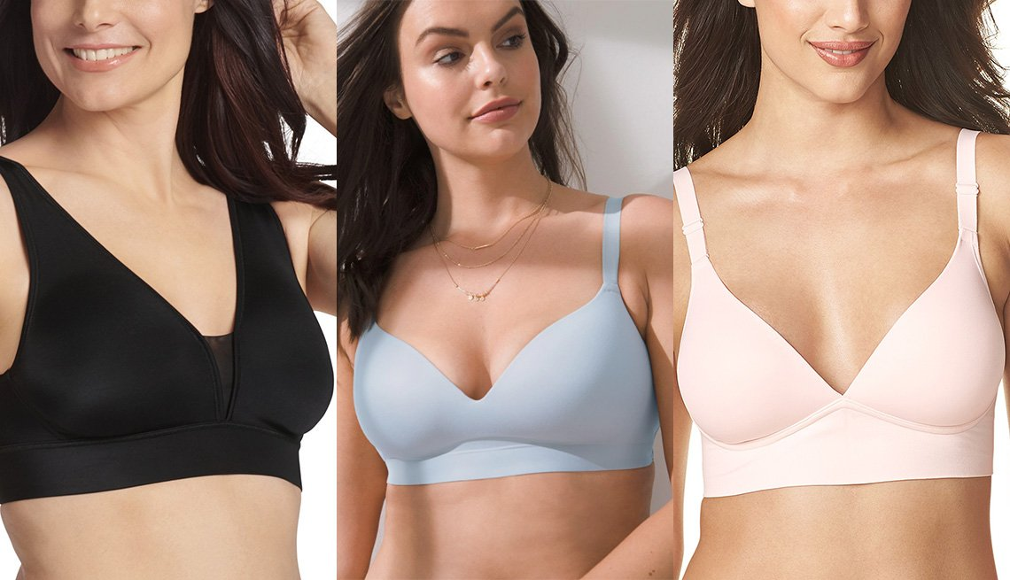 item 2 of Gallery image - Jockey Women's Forever Fit V-Neck Unlined Bra 2997; Soma Enbliss Wireless Bra style 570222679 in Peaceful Blue; Warner's Elements of Bliss Wire-free Bra RM3741A in Rosewater