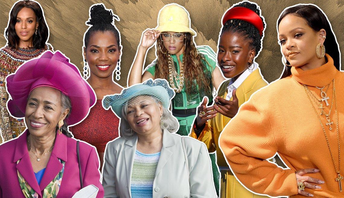 En el sentido de las agujas del reloj desde la parte superior izquierda: Kerry Washington, Vanessa Williams, Tyra Banks, la poeta Amanda Gorman, Rihanna y dos mujeres con sus mejores sombreros de iglesia dominicales.
