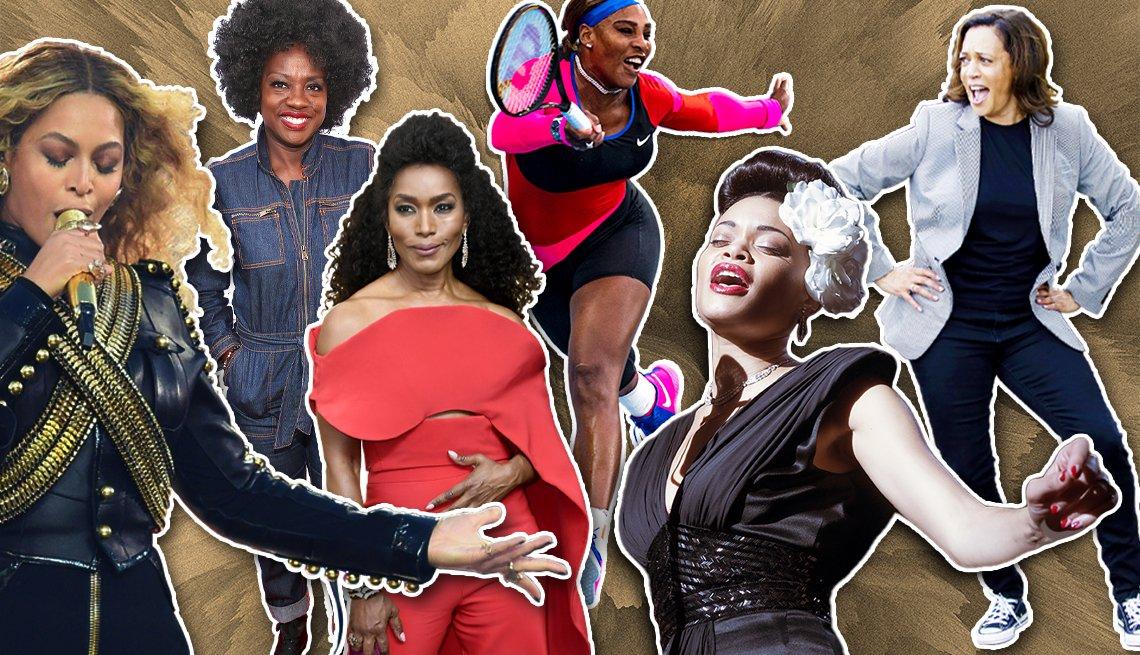 De izquierda a derecha: Beyonce, Viola Davis Angela Basset, Serena Williams, Andra Day y Kamala Harris