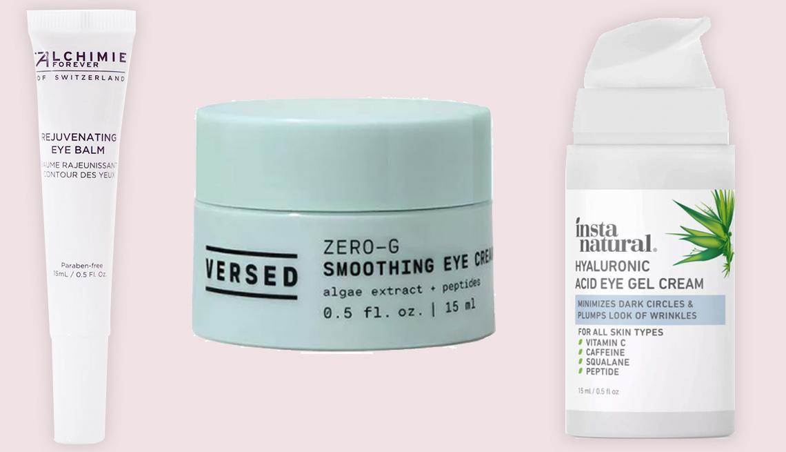 item 6 of Gallery image - De izquierda a derecha) Alchimie Forever Rejuvenating Eye Balm; Versed Zero-G Smoothing Eye Cream; InstaNatural Hyaluronic Acid Eye Gel Cream.