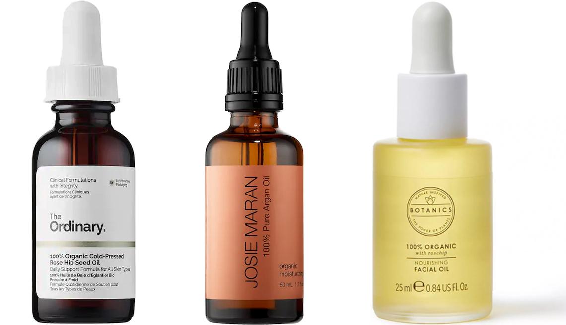 item 7 of Gallery image - (De izquierda a derecha) Ordinary 100% Organic Cold-Pressed Rose Hip Seed Oil; Josie Maran 100 Percent Pure Argan Oil; Botanics Organic Face Oil.