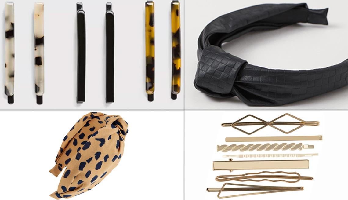 item 11 of Gallery image - (Desde arriba a la izquierda, en el sentido de las agujas del reloj) juego de pasadores en carey de A New Day; diadema con detalle de nudo de H&M en cuero sintético negro; pasadores de varias formas de Riviera en dorado; diadema forrada con nudo de Madewe