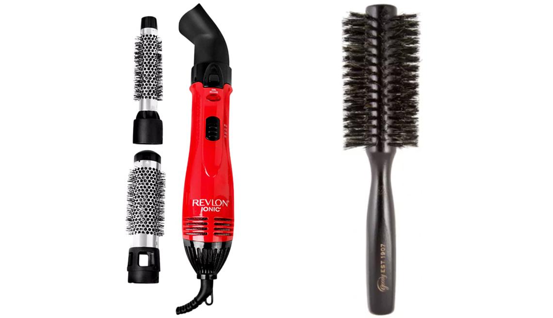 item 7 of Gallery image - Secador Ionic Technology Perfect Heat & Style Hair Dryer de Revlon (izquierda) y cepillo Heritage Collection Small Round Boar Hairbrush de Goody.