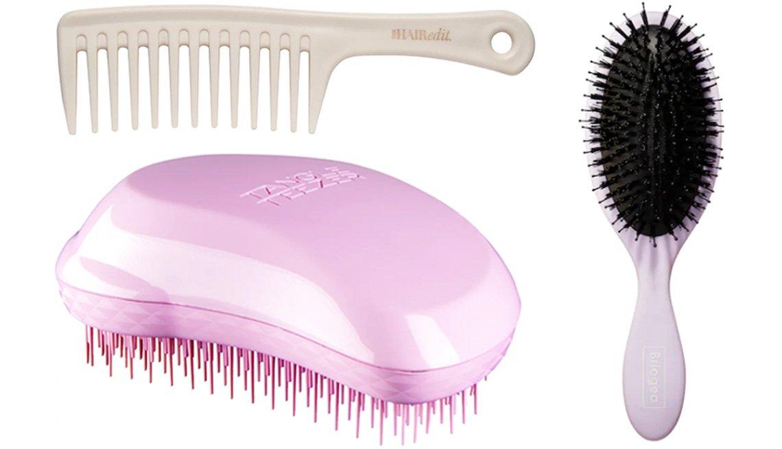 item 10 of Gallery image - The Hair Edit Tame & Condition Comb; Briogeo Vegan Boar Bristle Hair Brush; Tangle Teezer Fine & Fragile Pink Dawn Detangling Hair Brush