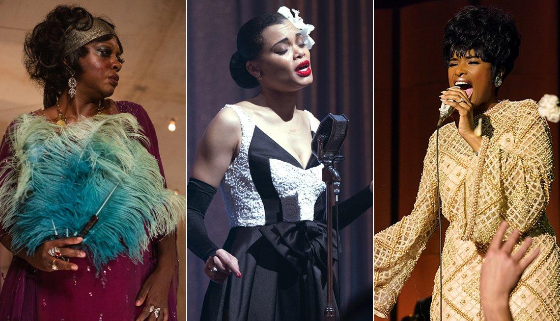 Viola Davis en Ma Rainey's Black Bottom, Andra Day en The United States vs. Billie Holiday, Jennifer Hudson en Respect.