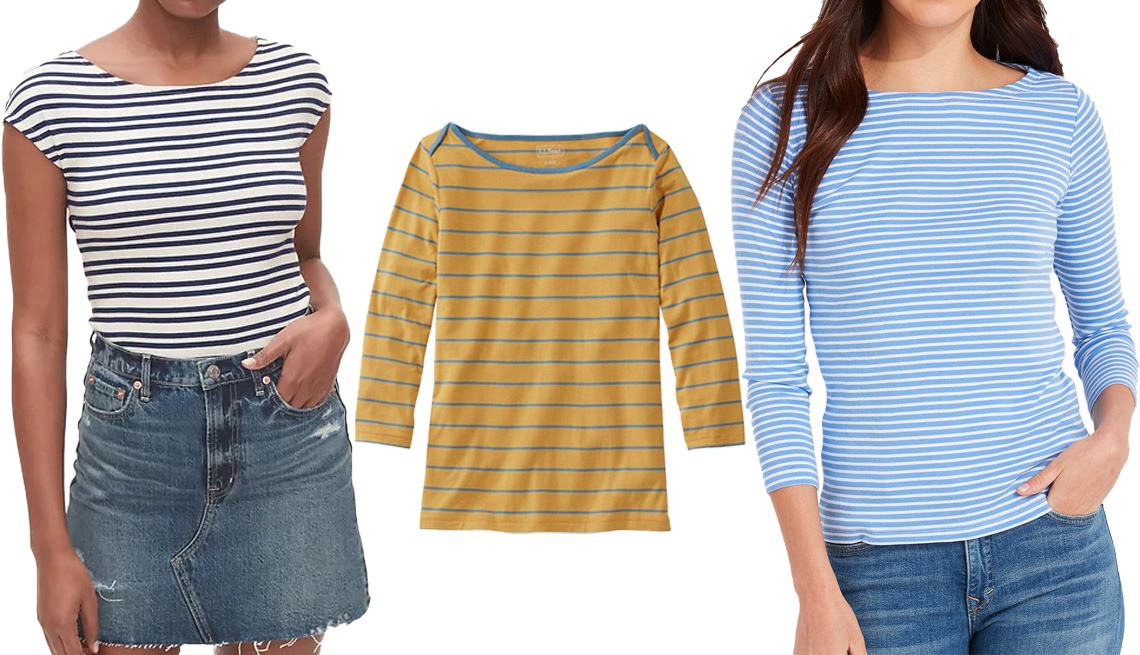 item 9 of Gallery image - Gap Modern Boatneck Striped T-Shirt in navy blue and white stripe; L.L. Bean Women's Soft Stretch Supima Tee, Three-Quarter-Sleeve Boatneck Stripe in warm gold/bayside blue; Vineyard Vines Striped Simple Boatneck Long-Sleeve Tee in breaker stripe