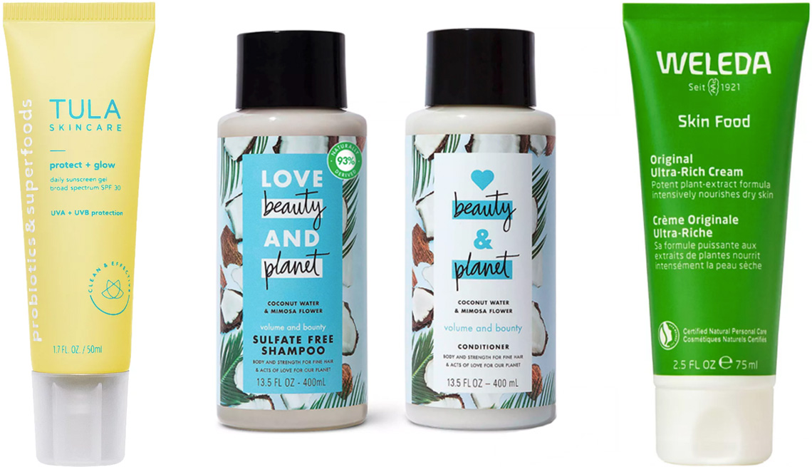 item 1 of Gallery image - Tula Protect + Glow Daily Sunscreen Gel Broad Spectrum SPF 30; Love Beauty and Planet Coconut Water Shampoo and Conditioner; Weleda Skin Food Original Ultra-Rich Cream