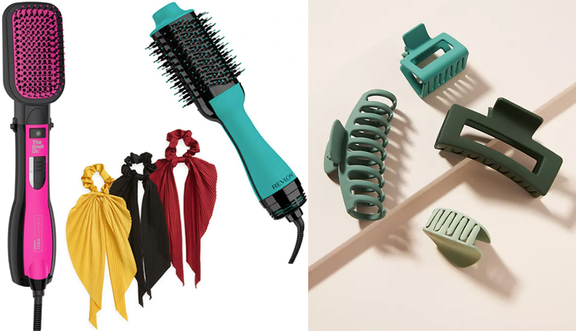 item 3 of Gallery image - Infiniti Pro by Conair All-In-One Paddle Dryer Brush; Tasha 3-Pack Pleated Hair Scrunchies in burgundy/mustard; Revlon Salon One-Step Hair Dryer and Volumizer in teal/black; Anthropologie Courtside Matte Hair Clip Set