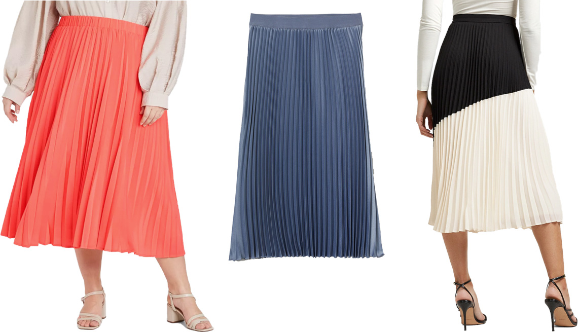item 7 of Gallery image - A New Day Women's Midi Pleated A-Line Skirt in coral; H&M Pleated Skirt in pigeon blue; Express High Waisted Pleated Color Block Midi Skirt in black and white