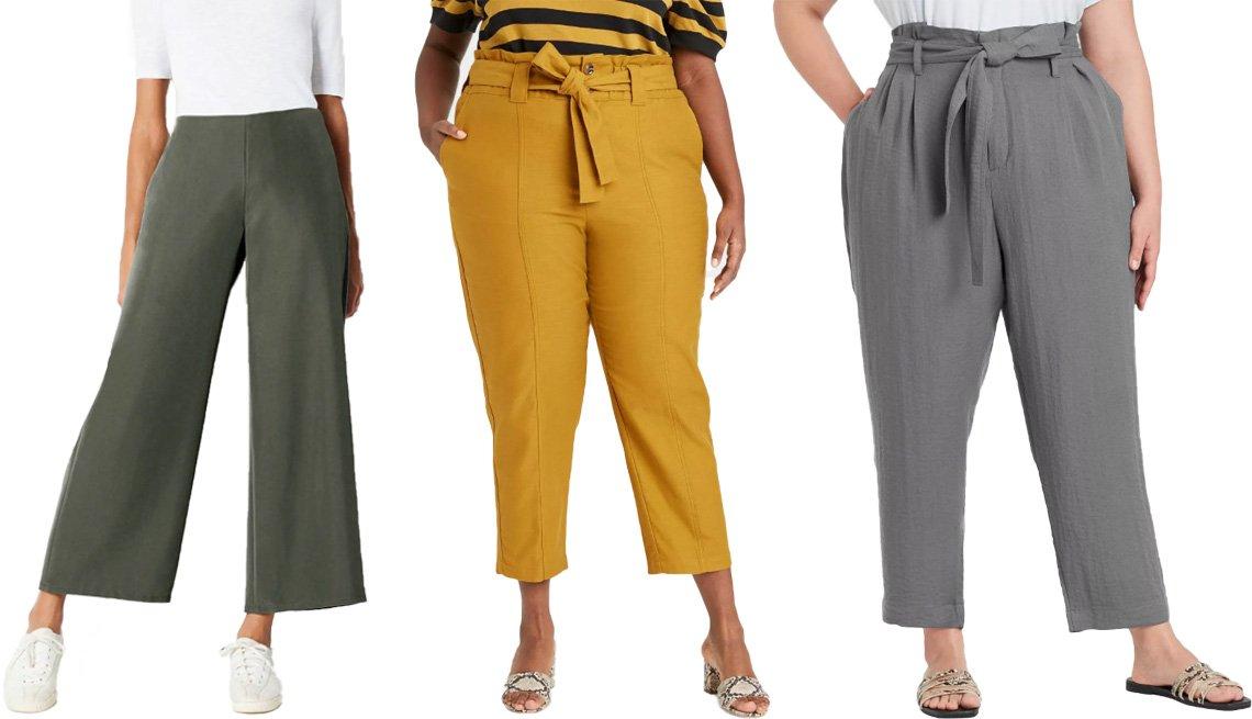 item 4 of Gallery image - (De izquierda a derecha) pantalones suaves de pierna ancha de J. Jill en alcaravea; pantalones tobilleros con cinturón de lazo para mujer de Who What Wear en amarillo; pantalones tobilleros de cintura alta con cinturón de lazo para mujer de A New Day en g