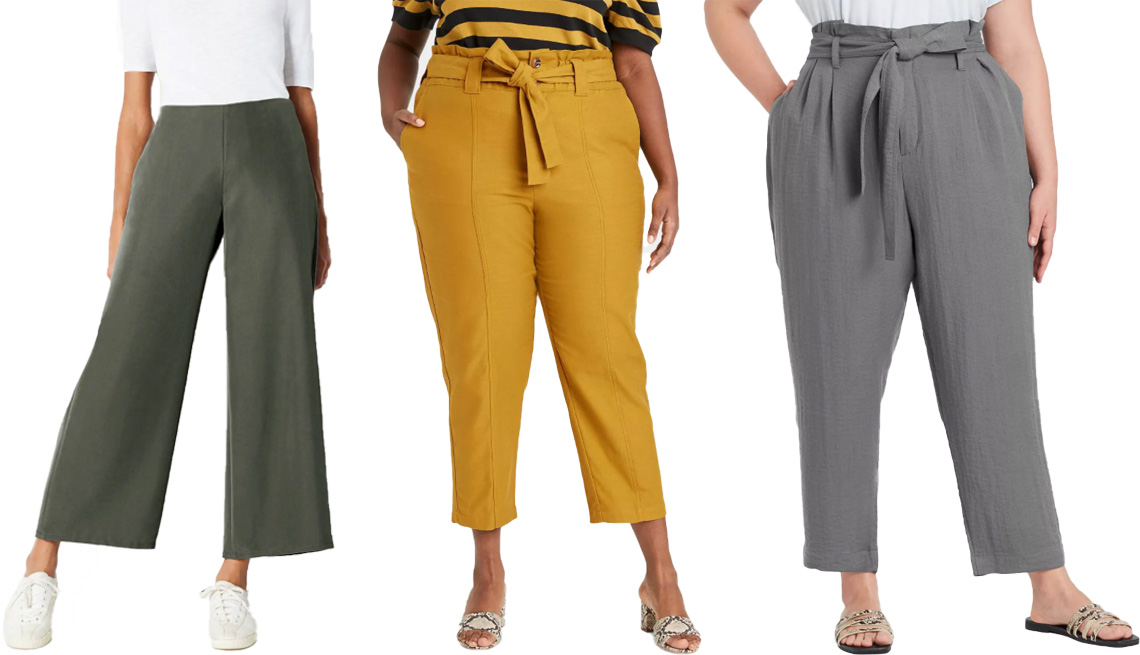 item 4 of Gallery image - J. Jill Soft Full Leg Pants in caraway; Who What Wear Women's Ankle Length Paperbag Trousers in yellow; A New Day Women's High-Rise Paperbag Ankle Pants in gray