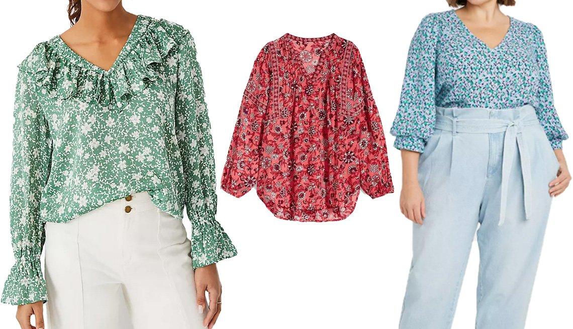 item 6 of Gallery image - (De izquierda a derecha) blusón con frunces y volantes de estampado floral y cuello en V de Ann Taylor en verde sereno; blusa estilo túnica holgada de cuello dividido con diseño floral para mujer de Old Navy en estampado floral rosa; blusa de gasa de mang