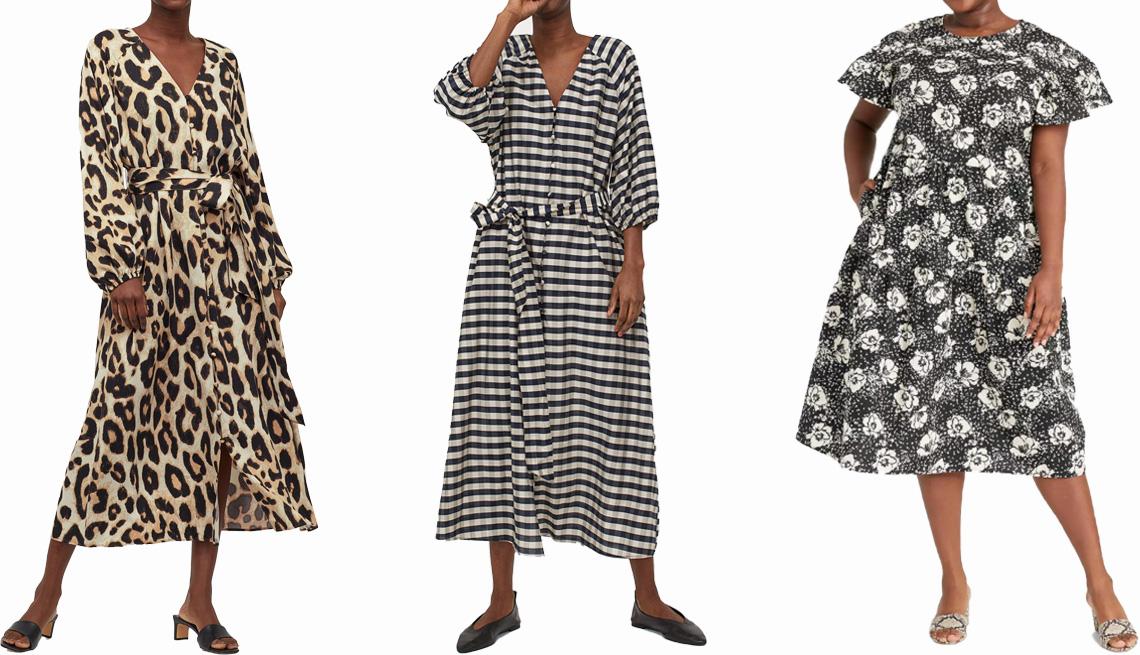 item 3 of Gallery image - H&M Tie Belt Dress in light beige/leopard print; H&M Lyocell-Blend Dress in dark blue/beige checked; Who What Wear Women's Flutter Short Sleeve A-Line Dress in black/white Womens Plus