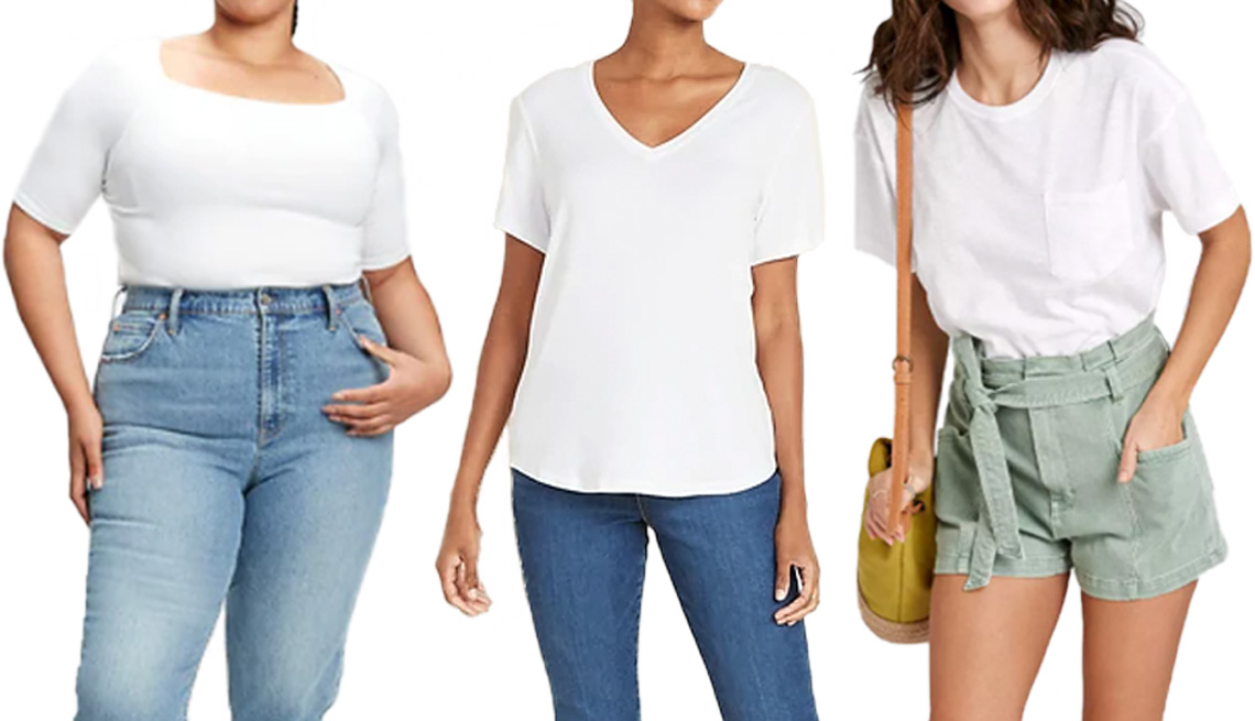 item 1 of Gallery image - Gap Modern Squareneck Elbow Sleeve T-Shirt in fresh white; Old Navy Luxe V-Neck Tee for Women in white lilies; Universal Thread Women's Short Sleeve Boxy T-Shirt in white