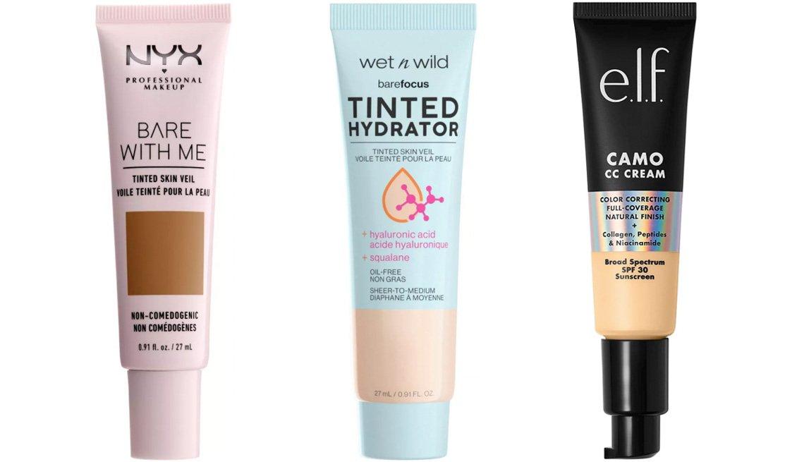 item 7 of Gallery image - (De izq. a der.) Bases Bare With Me Tinted Skin Veil de NYX Professional Makeup; Bare Focus Tinted Hydrator de Wet n Wild; Cosmetics Camo CC Cream SPF 30 de e.l.f.
