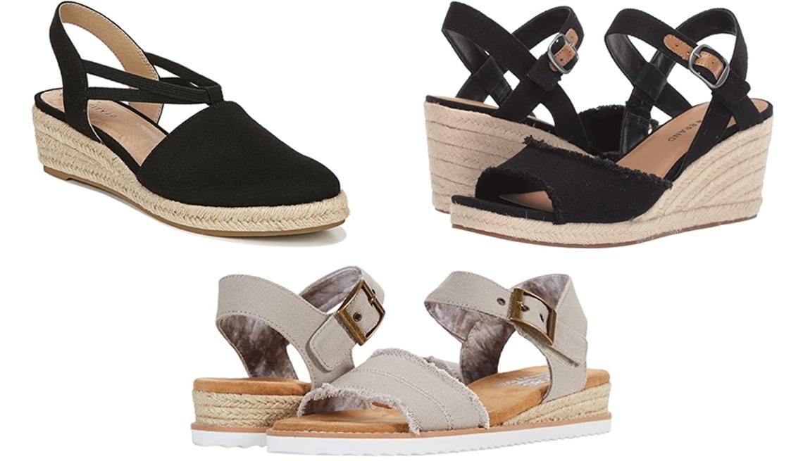 item 2 of Gallery image - LifeStride Katrina Espadrille Wedge Sandal in black; Lucky Brand Mindra in black; Bobs From Skechers Desert Kiss in taupe