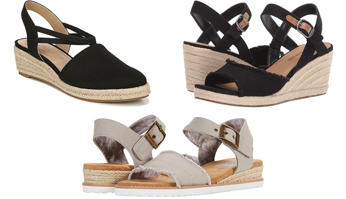 item 2 of Gallery image - LifeStride Katrina Espadrille Wedge Sandal in black; Lucky Brand Mindra in black; Bobs From Skechers Desert Kiss in taupe