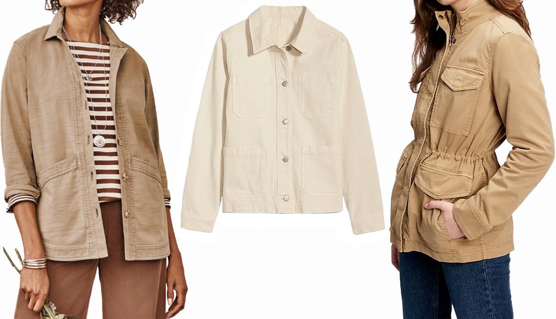 item 8 of Gallery image - J. Jill Modern Barn Jacket in light tobacco; Old Navy Ecru-Wash Chore Jacket for Women; Gap Utility Jacket in beige tan