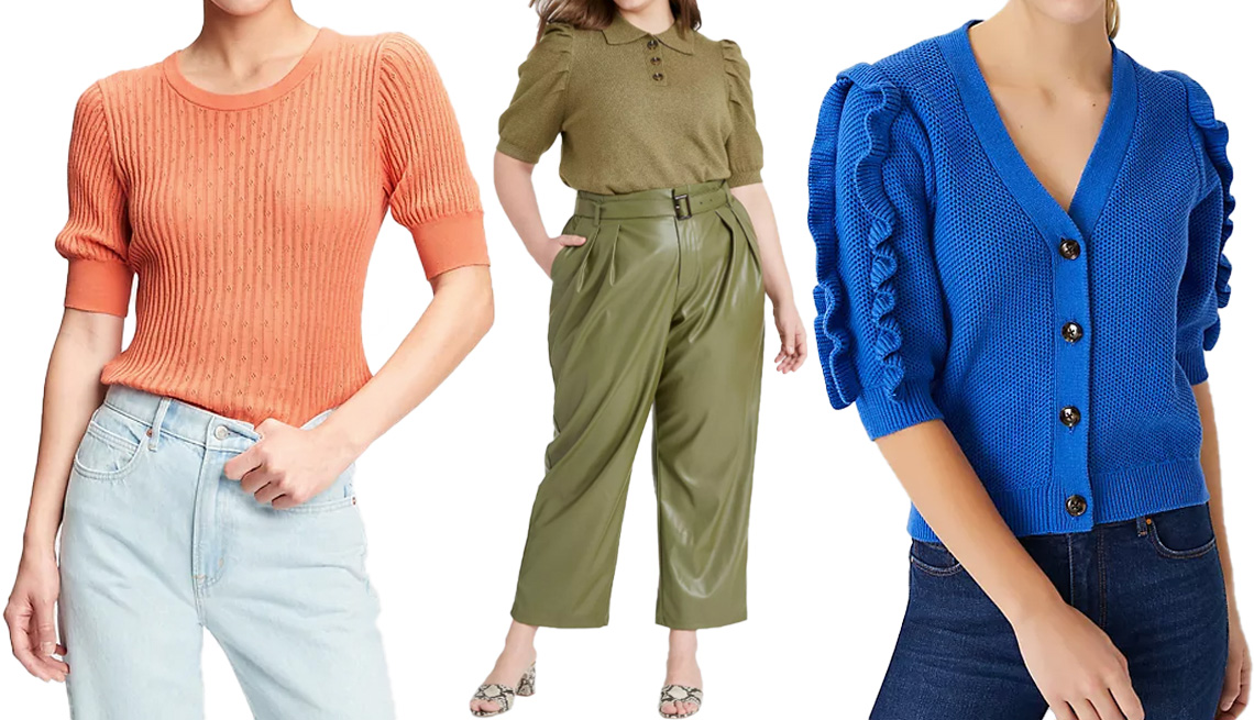 item 5 of Gallery image - Gap Elbow Sleeve Pointelle Sweater in sunburn orange; Who What Wear Women's Puff Elbow-Sleeve Collared Neck Pullover Sweater in green; Ann Taylor Ruffle Sleeve V-Neck Cardigan in deep azure