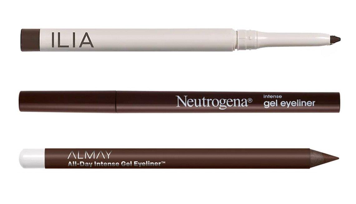 item 4 of Gallery image - (De arriba hacia abajo) Ilia Clean Line Gel Eyeliner en dusk; Neutrogena Intense Gel Eyeliner en 30 dark brown; Almay All Day Intense Gel Eyeliner en deep chestnut.