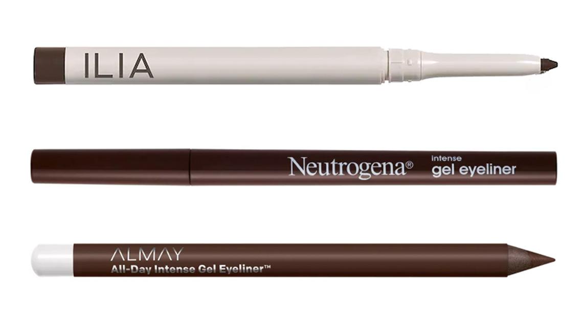 item 4 of Gallery image - Ilia Clean Line Gel Eyeliner in dusk; Neutrogena Intense Gel Eyeliner in 30 dark brown; Almay All Day Intense Gel Eyeliner in deep chestnut