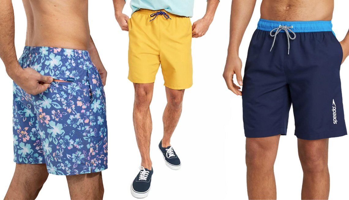 item 9 of Gallery image - Chubbies The Buds 7-Inch Faded Stretch with Zipper Back Pocket; Old Navy Solid-Color Swim Trunks for Men — 8-Inch Inseam in Lemonade; Speedo Men's 9-Inch Marina Long Volley Swim Trunks