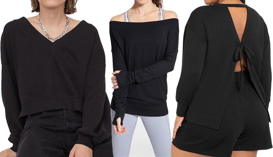 item 11 of Gallery image - (De izquierda a derecha) V-Neck Sweatshirt de H&M en color negro; Studio Barre Sweatshirt de Athleta en color negro; Tie Back Sweatshirt de Eloquii en color negro.