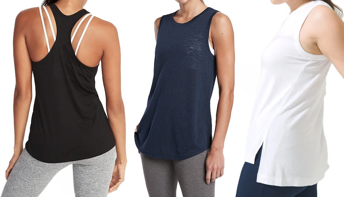 item 2 of Gallery image - Old Navy UltraLite Racerback Performance Tank for Women in black jack; Athleta Breezy Tank in navy; Soma Sport High-Low Tank in optic white