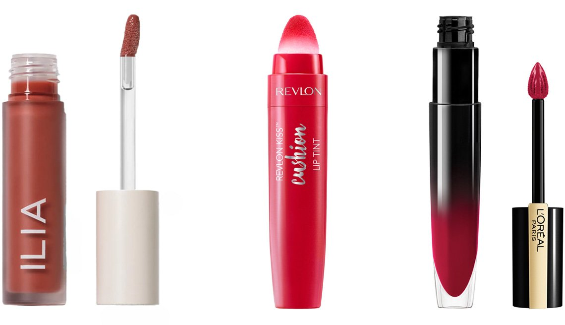 item 9 of Gallery image - Ilia Balmy Gloss Tinted Lip Oil in Saint; Revlon Kiss Cushion Lip Tint in Crimson Feels; L'Oréal Paris Brilliant Signature Shiny Lip Stain Lipstick in Be Powerful