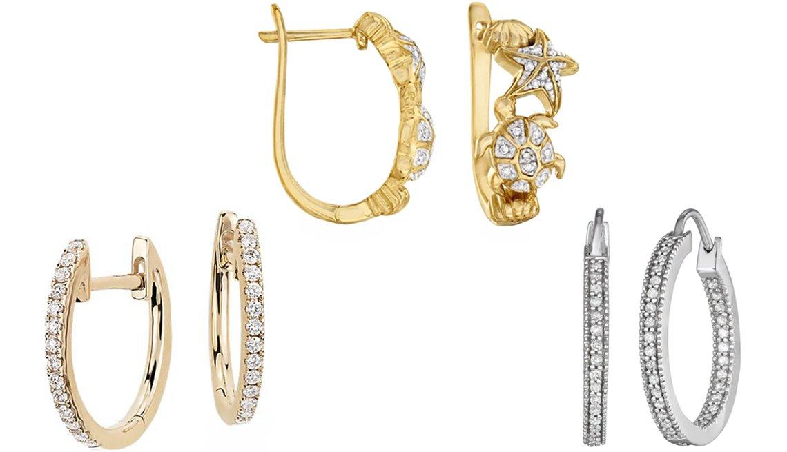 item 9 of Gallery image -  (Desde abajo a la izquierda, en el sentido de las agujas del reloj) aros de diamantes pequeños pegados a la oreja, de Blue Nile, en oro amarillo de 14 quilates; pendientes de aro de diamantes Sea Life de Ross-Simons de 10 quilates peso total; aros con di