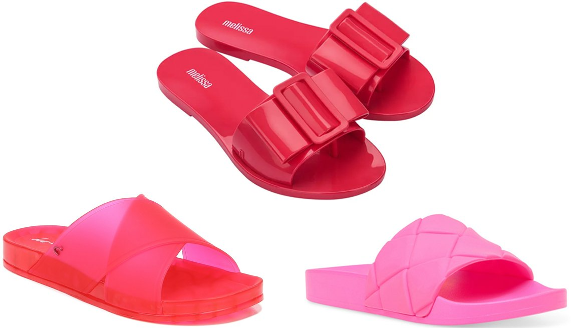 item 10 of Gallery image - Circus by Sam Edelman Women's Jaylee Translucent Pool Slides in Razzberry; Melissa Babe Slide Sandal in Red; Steve Madden Women's Soulful Quilted Pool Slides in Neon Pink