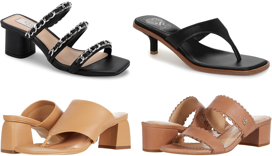 item 3 of Gallery image - Steven New York Link Slide Sandal in black; Vince Camuto Cannetta Sandal in black; Lauren Ralph Lauren Whitni Scallop Sandal in Nude; Faryl by Farylrobin Pamela x The New Nude Collection in Camel Nappa Leather