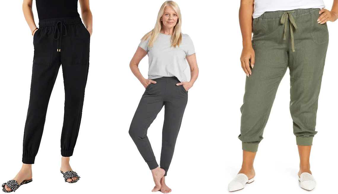 item 4 of Gallery image - Ann Taylor The Pull On Jogger Pant in black; Universal Standard Hathaway Jersey Jogger Pants in black sand; Caslon Drawstring Linen Joggers Plus in Green Beetle