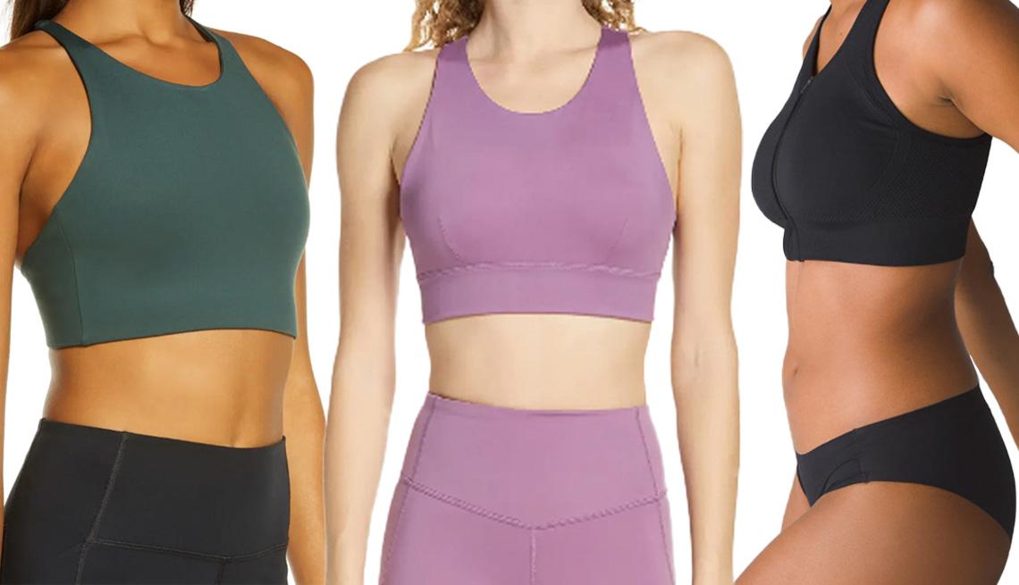 item 1 of Gallery image - (De izquierda a derecha) Topanga Sports Bra de Girlfriend Collective en color musgo; Exhale Studio Lite Sports Bra de Zella en color violeta púrpura; Seamless Zip-Front Bra de Soma Sport en color negro.