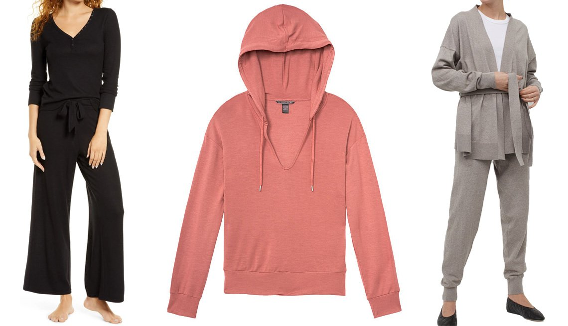 item 10 of Gallery image - (Izquierda a derecha) Classic Cozy Lounge Pants de BP. en color negro; Supersoft Lightweight Modal Fleece Easy Pullover Hoodie de Heavenly by Victoria en color rosa marchito; Cashmere-Blend Joggers de H&M en color topo.