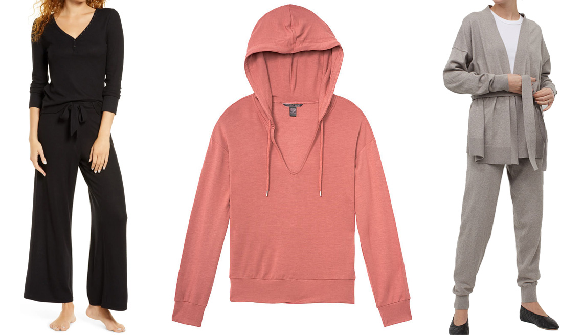 item 10 of Gallery image - BP. Classic Cozy Lounge Pants in black; Heavenly by Victoria Supersoft Lightweight Modal Fleece Easy Pullover Hoodie in withered rose; H&M Cashmere-Blend Joggers in taupe melange