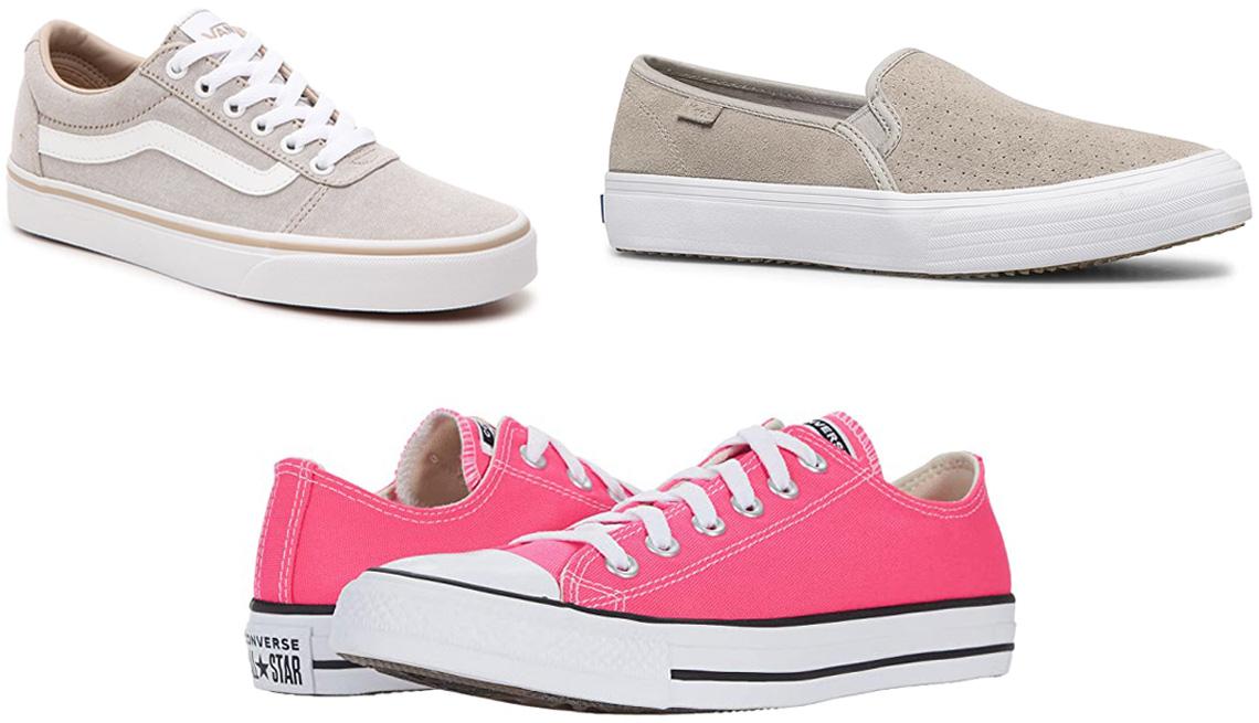 item 5 of Gallery image - Van's Ward Sneaker — Women's in taupe; Keds Double Decker Slip-on Sneaker in grey; Converse Chuck Taylor All Star Ox in hyper pink